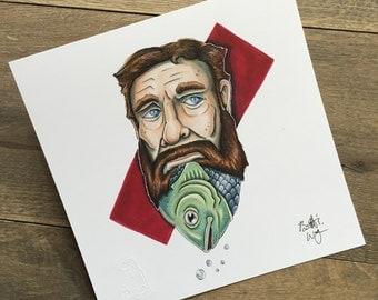 Hipster Fish Beard - 9x9 Print