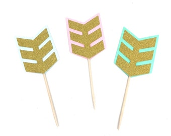 12 pcs wide arrows boho bohemian tribal theme Gold Glitter Cupcake dessert Topper for Birthday Baby wedding Shower party