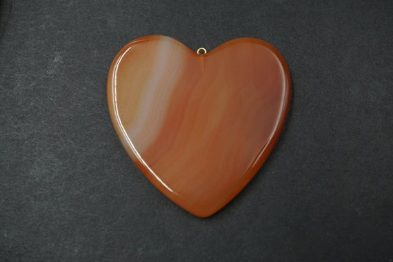 Large Heart Shaped Smooth Agate Pendant A-6