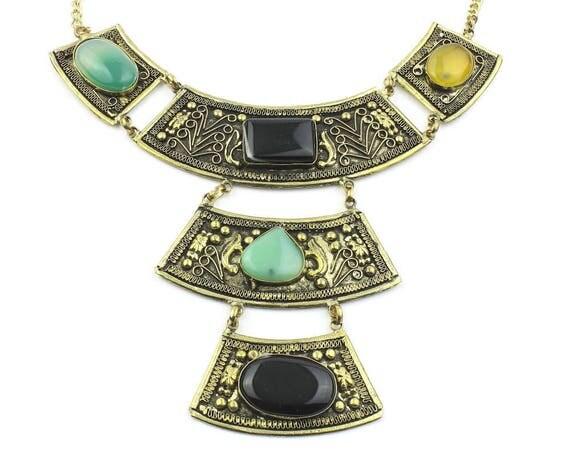 Gebze Necklace, Large Gemstone Necklace, Ornate, Ethnic Jewelry, Tribal, Festival, Hippie, Gypsy, Boho, Bohemian