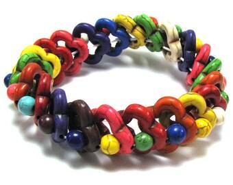 "20mm multicolor turquoise stretch bracelet 8"" 31336"