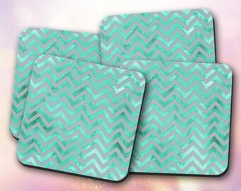Custom Coaster ~ Pattern, Chevron, Watercolor, Teal, Trendy ~ Vivid, Non-Slip
