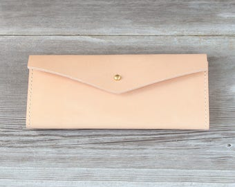 Leather Long Wallet // Nude