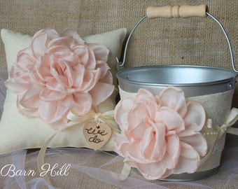 Ring Bearer Pillow, Flower Girl Basket, Rustic Wedding, Ivory, Blush Pink, Ring Pillow