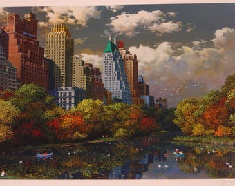 Unframed Central Park Fall by Alexander Chen with Certificate of Authenticity (MM)