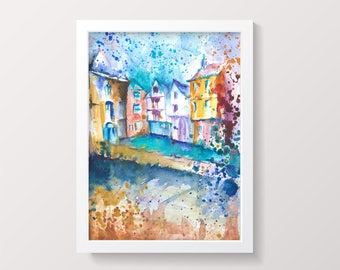 Bristol Original Watercolour Painting Impressionist Watercolor Christmas Steps Colorful Modern Impressionist Wall art Gift idea