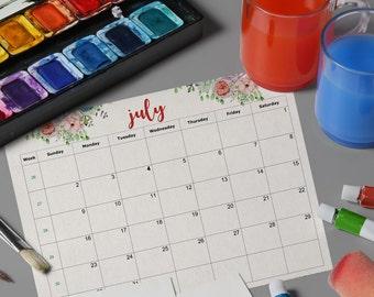 Office Desk Calendar, Calendar Planner, Desk Calendar, Monthly Planner, Monthly Calendar, 2017 Calendar Printable, Calendar Download
