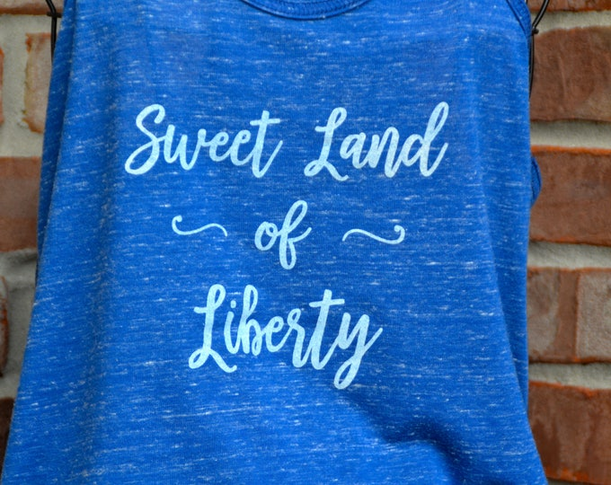 Featured listing image: Sweet land of liberty patriotic tank - great for Memorial Day, July 4th and every day!