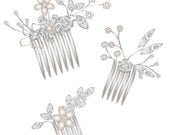 Custom silver romantic hair comb set and earrings for KENNA
