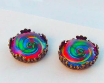 psychedel earrings, handmade earrings, psychedel stud earrings, hippy earrings, psychedelic stud earrings, hippies, studs, hippie, 1960s  #1