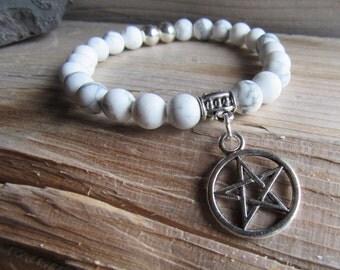 Natural White Howlite with Pentagram Charm Bracelet