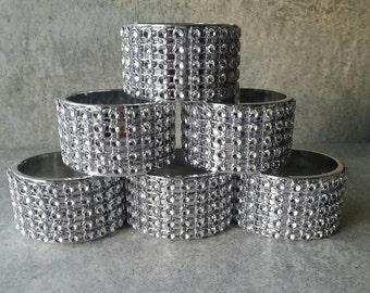 6 Good quality round  plastic diamond mesh napkin bling ring holders, bridal showers, weddings, dessert bar, bling napkin rings