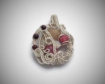 Fairy Garden - Rutilated Quartz - Garnet, Raspberry rhodolite garnets, moonstone - Sterling Silver and silver filled wire