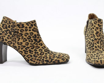 90's Leopard Print Ankle Boots Size 8
