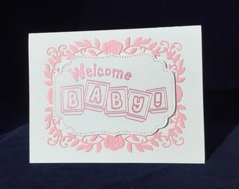 Welcome Baby card, baby girl card, pink card, unique card, luxury card,  beautiful card, special baby card, new baby card