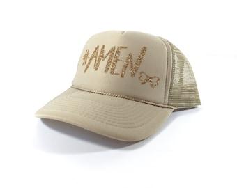 Le Bow Couture #AMEN Trucker Hat-Gold/Beige (Adult)