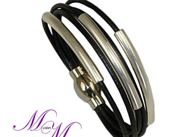 Ladies leather strap MELODY in black real leather - handmade in Germany