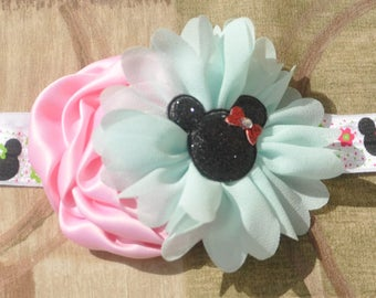 Mickey Mouse Aqua- Pink elastic HB-Pastels colors -Headband Hair Band Accessories