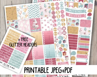 Birthday printable planner stickers Birthday party watercolor balloon gift cake wedding weekly kit for use with Erin Condren LifePlannerTM