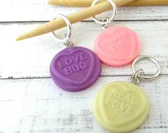 candy stitch markers - lovehearts sweets food stitchmarkers - knitting or crochet progress markers place holders