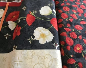 Wilmington Prints poppy fabric, quilting, cotton,  stripe, border print by the half yard