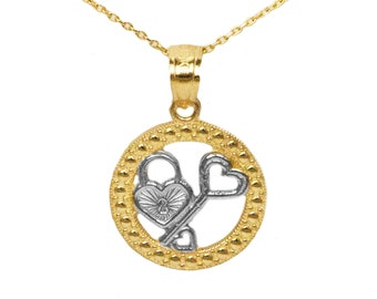 10k Yellow Gold Key and Lock Pendant
