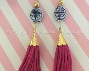 SALE | PINK Beaded Tassel Earrings | Raspberry pink, chinoiserie, blue and white, delft, navy, gold, ginger jar, pink and blue
