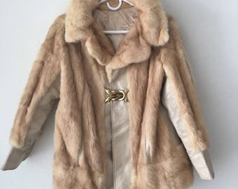 Glamorous Mid Length Vintage Beige Genuine Mink Fur & Leather Coat Women's Size Medium.