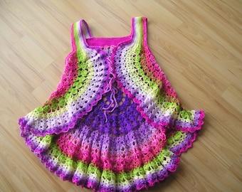 Vest circle vest, crochet vest, Spring Garden, in the hippie look, 70s, flower power, crocheted 40/42