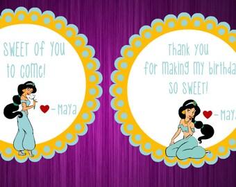 Personalized Princess Jasmine Stickers