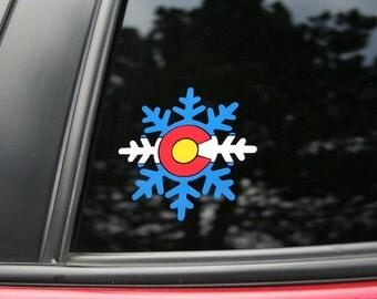 Colorado Flag Snowflake #2 die cut sticker