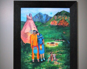 Happy Native American Family Oil Painting Print/Nature Wall Art/People Wall Art/Commissioned Art Work