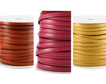 1 m 10 mm genuine leather (fuchsia (pink), yellow or dark orange)