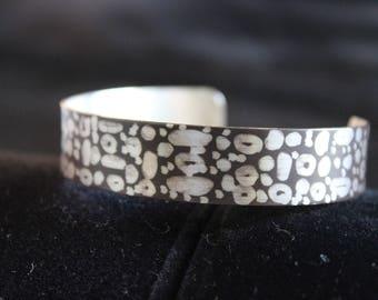 Unique Reverse Etched German Silver Cuff Bracelet (05212017-034)