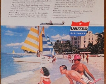 1956 United Airlines ad.  United Airlines to Hawaii.  Vintage United Airlines ad.  Sunset Magazine.  November 1956.