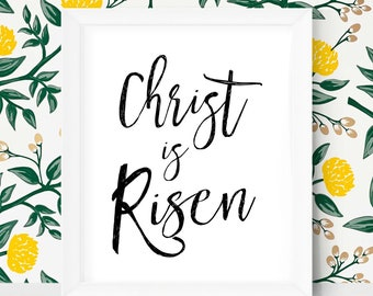 Easter Decoration Easter Printable Easter Art Christ is Risen Easter Decor Printable Easter Gifts First Easter Scripture Wall Art Prints