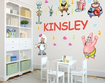 PAW Patrol Personalized Name Wall Decals For Kids Bedroom - Spongebob room decals