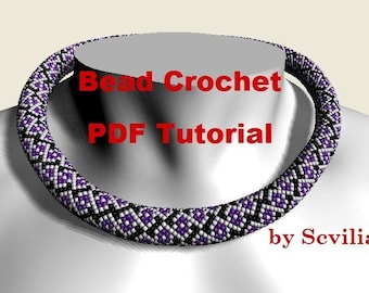 Bead crochet rope pattern for beading necklace «A garland of flowers» Four kinds. Instant Download