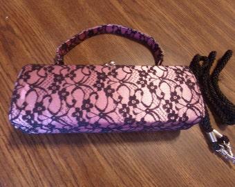 Vintage Pink Black Lace Covered Shoulder Purse