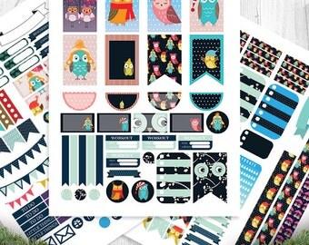 Birds, Winter Owls Planner Stickers Printable, HAPPY PLANNER, Monthly/Weekly Kit, Printable Sampler, Happy planner kit, Instant download