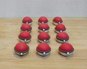 PokeBall cupcake toppers. Pokemon cake topper.