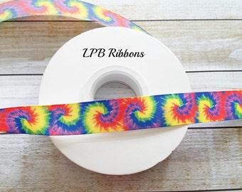 7/8 Ribbon, Tie Die Ribbon, US Designer Ribbon, Ribbon by the yard, Ribbon