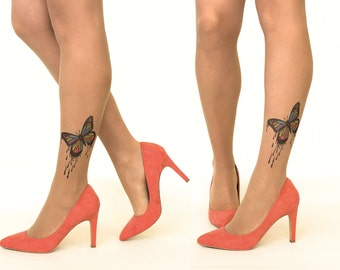 Tattoo Tights/Pantyhose with Dripping Paint Butterfly - FREE SHIPPING