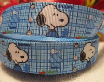 """3 yards 7/8"""" Snoopy Blue Grosgrain Printed Ribbon"""