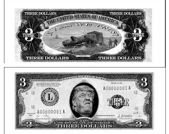 4 Donald Trump three dollar bills