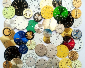 50 pcs Vintage Steampunk Wrist Watch Dials Faces Watch Parts Jewelry Making Altered Art Supply