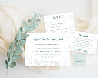 Kit Botanic Mint Wedding Invitation Template. Wedding Invitation Set, Instant Download, DIY Printable File, Editable Text