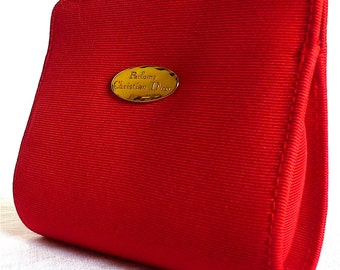 CHRISTIAN DIOR Pouch, Cosmetic Travel Pouch, Red Makeup Bag, High Fashion Designer Clutch, Gift Idea