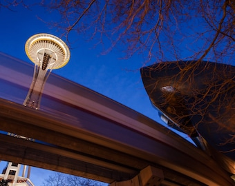 Space needle and Monorail photography print