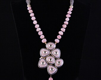 Pink Gray Labradorite Necklace
